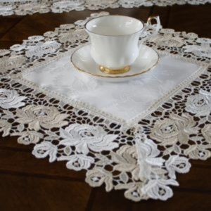 NEW Doily Cream Beige Rose Lace, Square Table Mat